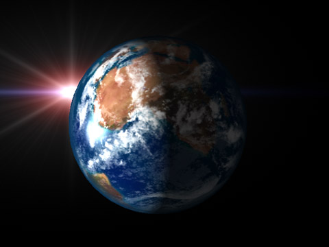earth with light